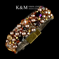 New Coming Punk Style Exquisite PU Leather Bangles and Bracelets Fashion Exaggerate Small Beads Jewelry for Women Gift