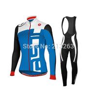 2014 Castelli Cycling Jersey Long Sleeve men Cycling Clothing bib pants S-4XL