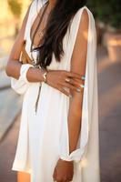 2014 Autumn Autumn Mini V Collar Chiffon loose A word dress fashion Factory  price free shipping