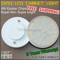 4 pieces/lot 7w gx53 base led cabinet lamp promotion 230v closet cupboard hot sale spot lights SMD power Light bulbs