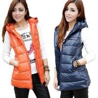 Fashion autumn and winter women vest thickening down cotton medium-long warm hooded coats ladies plus size vest jackets L-4XL