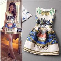 2014 summer new European and American big retro digital printing jacquard sleeveless vest dress bottoming party dresses