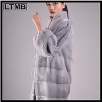 Sapphire MINK FUR Coat for fashion women with Full Sleeve Turn Down collar genuine fur coat  FUR COAT Overcoat Outerwear