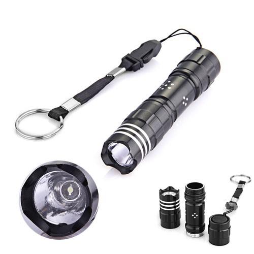 Black Mini White 1 LED Camping Fishing Flashlight Torch Lamp Light keychain(China (Mainland))