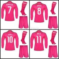 14/15 Real Madrid away pink Long sleeve Soccer jersey Kits +match sock,2015 James Rodriguez Cristiano Ronaldo Kroos Gareth Bale