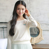 The New Sweaters 2015 Women Fashion Ladies Round Neck Hollow Out Women Sweaters  M6326