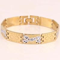 Free shipping 2014 new Classic Vintage wedding Men 18k gold filled  Box chain bracelet  for men fashion gold bracelet