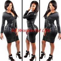 New  Women Sexy  Club Black   Snake Skin Faux Leather Long Sleeve Dress Women  Animal Print  Front Zipper  Midi  Dress