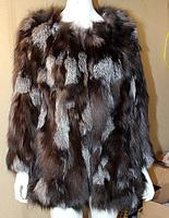 2014 top luxury new women's long section of silver fox fur coat XL-5XL