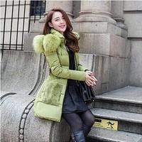 2014 fashion luxury thick women parkas winter jacket women winter coat women fur clothing with belt personality clothing