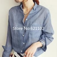 2014 autumn fluid long-sleeve women clothing shirt tops all-match loose plus size V-neck cotton linen thin shirt office blusas