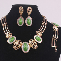 Retail Classical Wedding Gold Platinum gold Plated enamel Jewelry Set,Pendant Necklace/Earrings/bracletes with Austrian Crystal