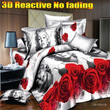 [Flower Gift]3D bedding sets king size 3d bed linen bedclothes Marilyn Monroe designer 3d bed sheets duvet cover set(China (Mainland))