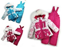 2014 New Children's Winter Clothing Set baby girl Ski Suit Windproof Down Coat Flower Warm Coats Fur Jackets+Bib Pants 3 Colors