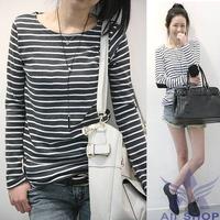 2014 Fashion Autumn Winter Casual O-Neck t shirt womens Stripe long sleeve shirt women Tops blusas Plus Size Woman Clothes 07817