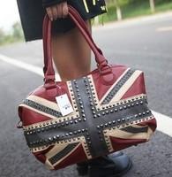 2014 US/UK England Flag Punk Men Women Shoulder GYM Travel Bags Leather Handbags Rivet Large Capacity Crossbodys l1351