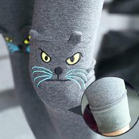 Women inside Thicken Fur Warm Leggings Winter Clothes Plus size Pants Cute Cartoon Kitten Embroidery