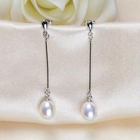 Популярные моды кристалла и жемчужные серьги, 8 мм белая слеза пресноводных клип на серьги свадьбы, ювелирные украшения для новобрачных уха жемчужная