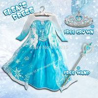 Elsa Frozen Dress + FREE Crown&Wand Girl Kid Costume Cosplay Princess Party Dress Free Shipping