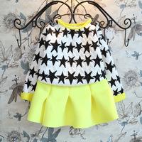 Children Girls  warm Winter clothes set  2 pcs clothes set Star pattern cotton hoodies  + Pettiskirt set  Christmas X mas gift
