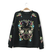 2014 Autumn Winter Embroidery Floral Pattern Sweatshirt  Long Sleeve Casual Women Hoody Black Tractsuits Sports Suit  H142507