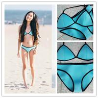 Women's Fashion Triangle MILLY Neoprene Swimwear Reversible neoprene biquini Bikinis Push Up Neoprene Swimsuit Set Bikini Set