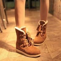 new 2014 autumn winter ankle boots heels women's anti-slip Lace-up suede boots Platform Warm Plush Snow boots Artificial shoes
