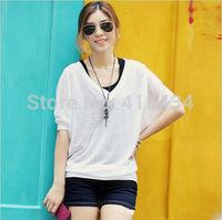 Europe & United States Women's Slim Thin Coat Large Size women's Sun Protection Clothing Cotton V-neck Long-sleeved Blouse Joker