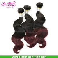 Berrys Brazilian ombre hair body wave two tone 1b&99j burgundy,Hair weave beauty 3pcs/lot,via DHL shipping, double wefts