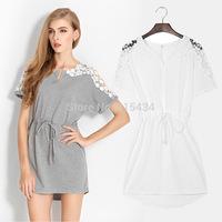 2014 Women's European Style Big Size Short Sleeve Solid Color Cotton Crochet Dresses Irregular Dress Openwork Lace Dress
