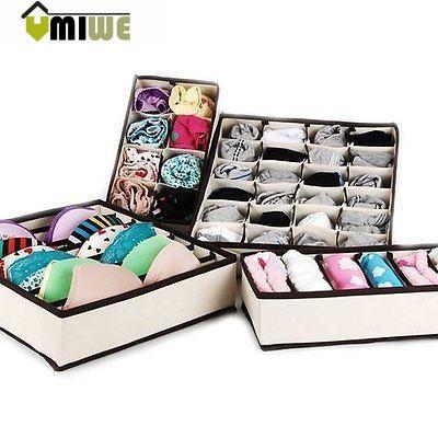 Umiwe Drawer Dividers Closet Organizers Bra Underwear Storage Boxes (Off White,Set of 4)(China (Mainland))
