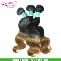 Brazilian body wave 100g/pcs 3pcs/lot ombre hair two tone1b&4#,cheap price human hair free shipping double wefts hair Extensions