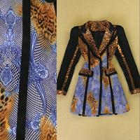 S, M, L, XL 2014 European Fall Winter Sexy Wild Leopard Print Shrug Lapel Trench Slim Long Sleeve Overcoat 0902