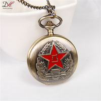 Biker Watch Necklaces Classic Chinese Eighty-one Army Badge Pocket Watch Jewelry for Men 2014,NC4273
