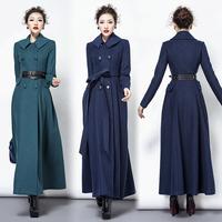 TWODS navy blue wool 2014 winter x long coat plus size coats casaco sobretudo feminina woolen double-breasted with belt Cashmere
