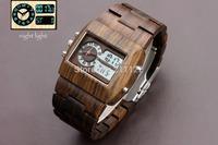Top Luxury Bewell Brand  Men Wood wristWatch Quartz Analog Digital Double Movement LED Men Wood Watch Bracelet Quartz Alarm