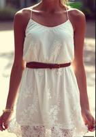 2014 New summer white flower Sleeve lace dress