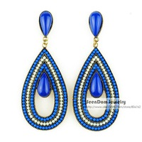 Vintage Bohemia Style Multicolor Beads Brincos Resin Simulated Gemstone Statement Earring Women Dress Jewelry SCE104