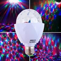 Colorful 3W E27 RGB LED Mini Crystal Dj Light Magic Ball DJ Profissional Stage Lights Bulb Rotating Lamp Luzes Para Festa 03635