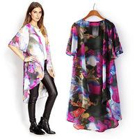 European Style 2014 Women's Coat Long Ink Printing Flowers Cloak Woman Cardigan Jacket Plus Size Outer Wear Chiffon Women Tops