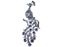 Amethyst Purple Crystal Rhinestone Peacock Female Broach Fashion Pin Pendant [US Stock]
