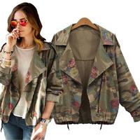 2014 New Fashion Vintage Army Green Camouflage Jacket Full Sleeve Jacket Zipper Coat  jackets women woman clothes Free Shipping