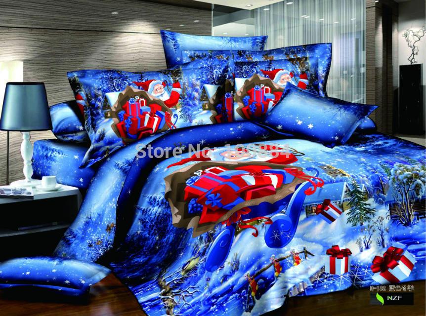 blue color christmas bedding set,200*230cm queen size christmas comforter duvet cover ,500TC cotton christmas sheet(China (Mainland))