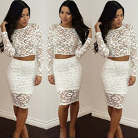 Top selling fashion women dresses lace clothes long sleeves clothes white color elegant style
