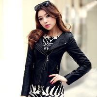 2014 Autumn Winter Pu Plus Size Spliced jaquetas Striped Ladies' Motorcycle Bomber Jackets Punk Women' Faux Leather Coats 8866