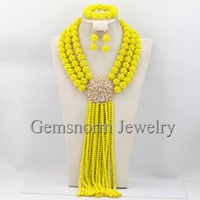 Marvelous Yellow African Beads Jewelry Set Handmade Long Crystal Wedding Jewelry Set Gold Plated Set Free Shipping GS563