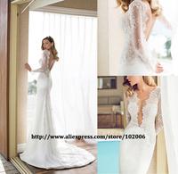 Hotsale julie vino wedding dresses vestidos de casamento noivas 2014 sexy backless long lace sleeve mermaid wedding dresses gown