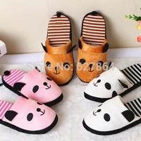 2014 Fashion New Popular Panda Striped Skidproof Home Slippers,Lovely Animal Slippers,Winter Warm Plush Slippers For Men&Women