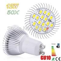 50pcs Free Shipping  High Power  SMD5730 16 LED LAMP  GU10/ MR16 / E27 / E14 / B22  AC85-265V 12W Energy-Saving  Led Light Bulbs
