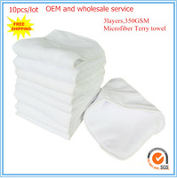 Free shipping 10pcs/lot  size:13.5*35cm  3layers cloth diaper microfiber inserts nappy inserts diaper inserts